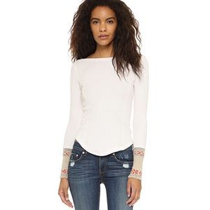 Free People Newbie Rosy Cuff Thermal Top